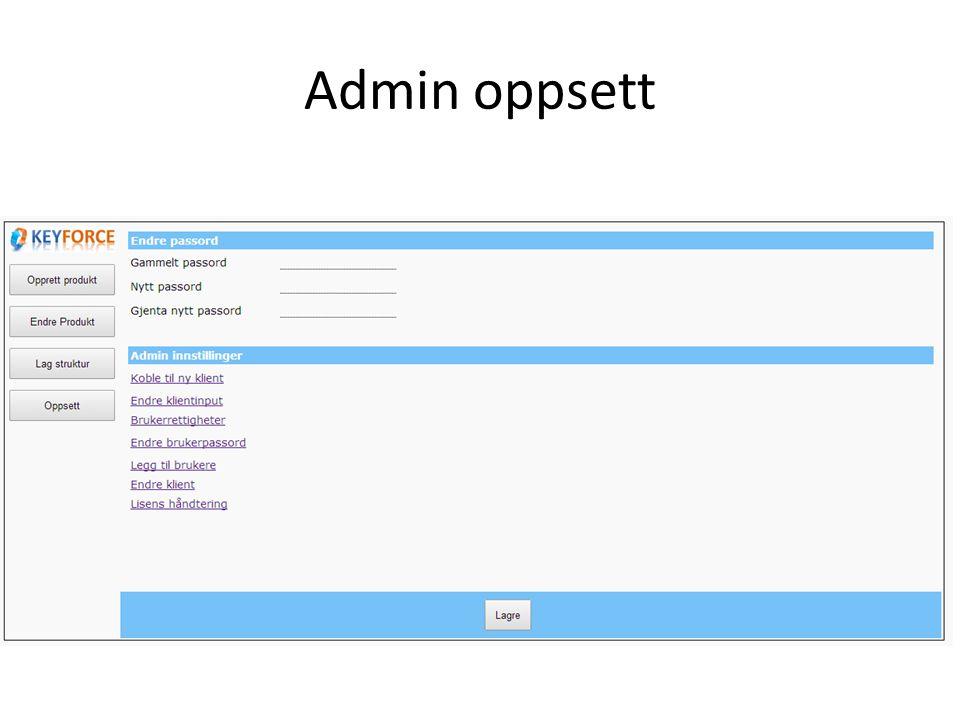 Admin oppsett