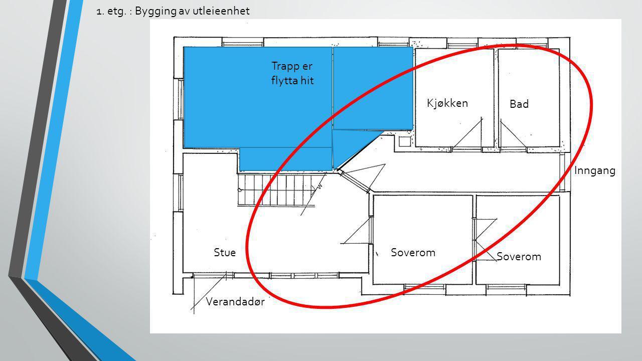 1. etg. : Bygging av utleieenhet StueSoverom Kjøkken Bad Inngang Verandadør Trapp er flytta hit