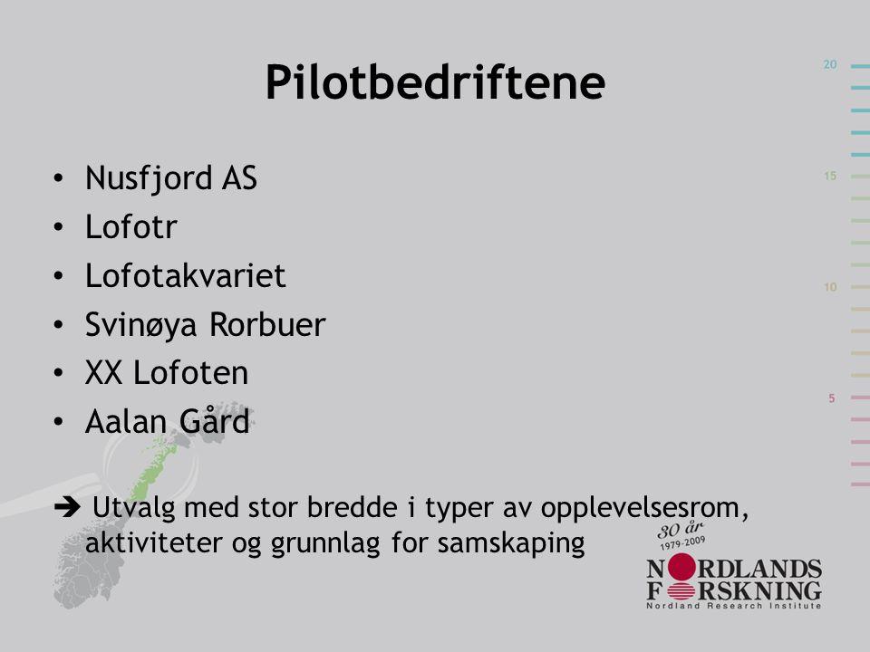 Pilotbedriftene Nusfjord AS Lofotr Lofotakvariet Svinøya Rorbuer XX Lofoten Aalan Gård  Utvalg med stor bredde i typer av opplevelsesrom, aktiviteter og grunnlag for samskaping