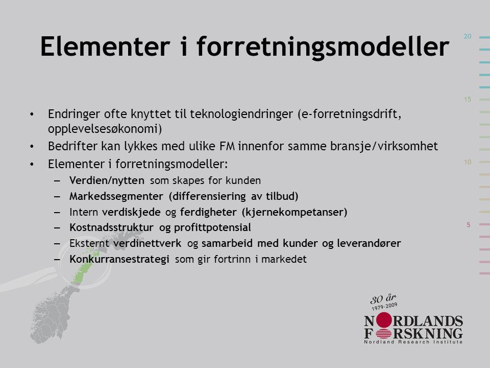 Elementer i forretningsmodeller Endringer ofte knyttet til teknologiendringer (e-forretningsdrift, opplevelsesøkonomi) Bedrifter kan lykkes med ulike FM innenfor samme bransje/virksomhet Elementer i forretningsmodeller: – Verdien/nytten som skapes for kunden – Markedssegmenter (differensiering av tilbud) – Intern verdiskjede og ferdigheter (kjernekompetanser) – Kostnadsstruktur og profittpotensial – Eksternt verdinettverk og samarbeid med kunder og leverandører – Konkurransestrategi som gir fortrinn i markedet