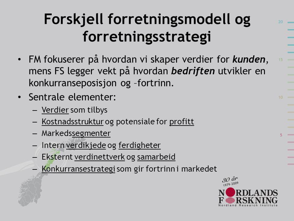 Forskjell forretningsmodell og forretningsstrategi FM fokuserer på hvordan vi skaper verdier for kunden, mens FS legger vekt på hvordan bedriften utvikler en konkurranseposisjon og –fortrinn.
