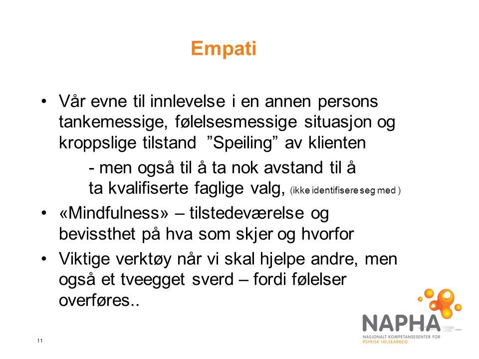 """11 Empati Vår evne til innlevelse i en annen persons tankemessige, følelsesmessige situasjon og kroppslige tilstand """"Speiling"""" av klienten - men også"""