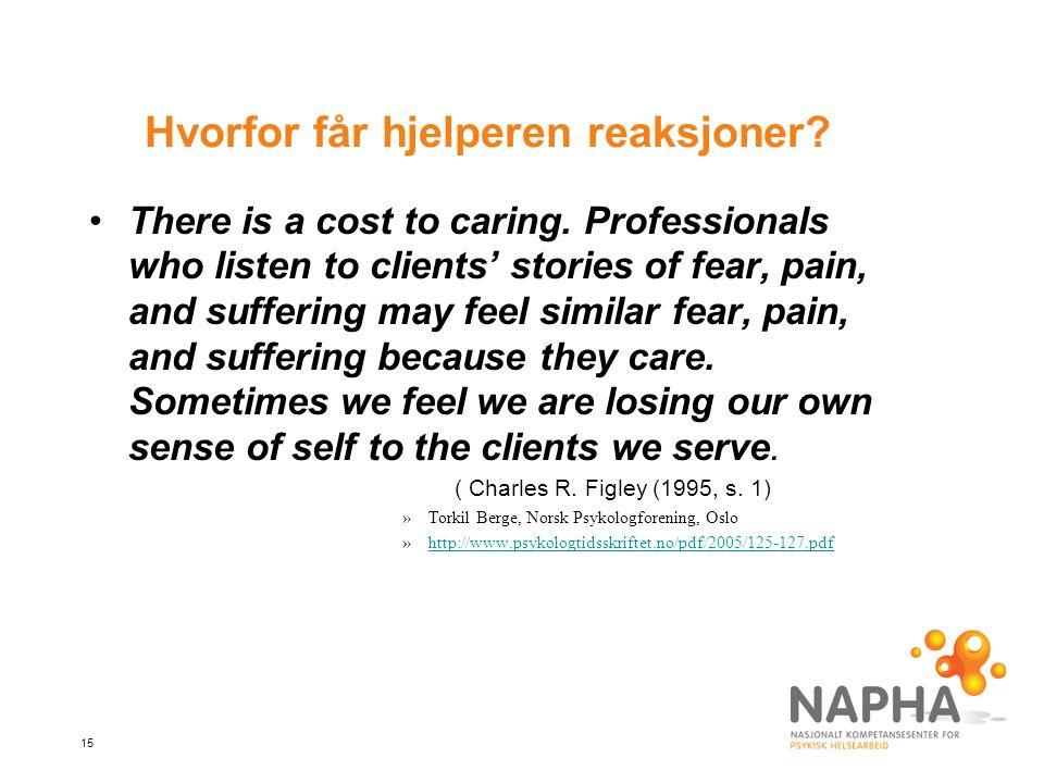 15 Hvorfor får hjelperen reaksjoner.There is a cost to caring.