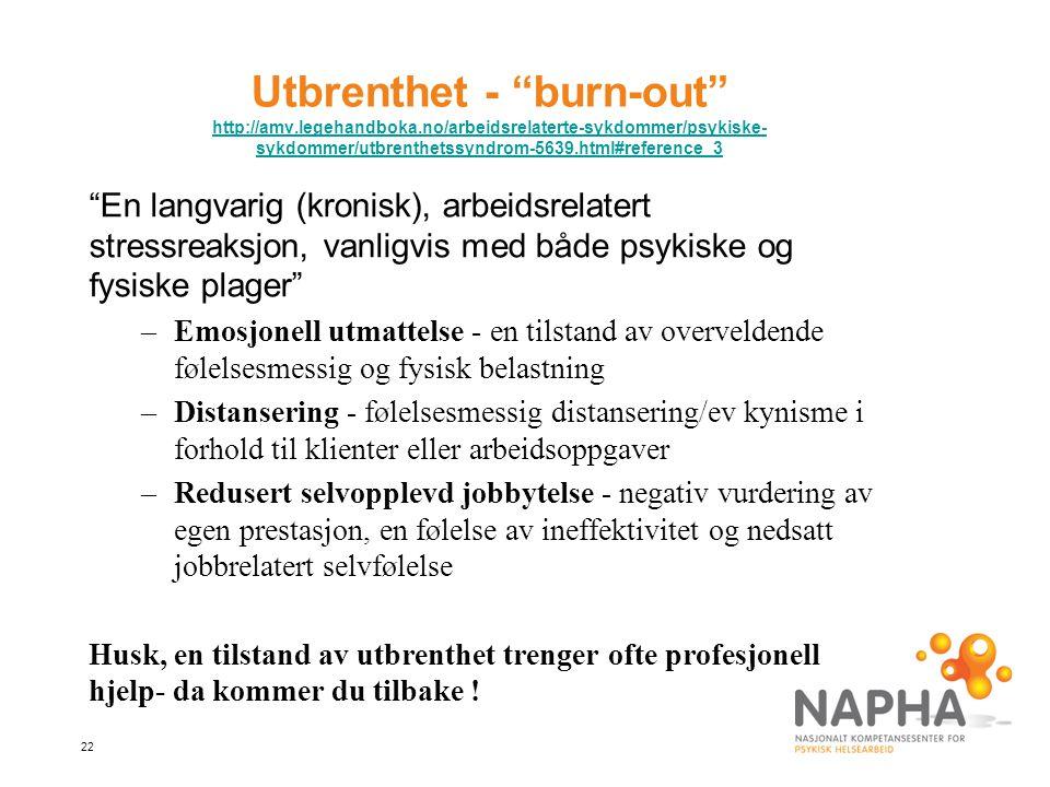 """22 Utbrenthet - """"burn-out"""" http://amv.legehandboka.no/arbeidsrelaterte-sykdommer/psykiske- sykdommer/utbrenthetssyndrom-5639.html#reference_3 http://a"""
