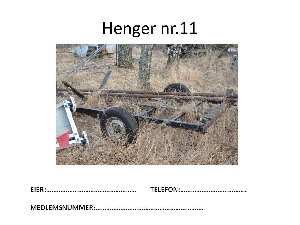 Henger nr.11 EIER:……………………………………………TELEFON:……………………………….. MEDLEMSNUMMER:…………………………………………………….