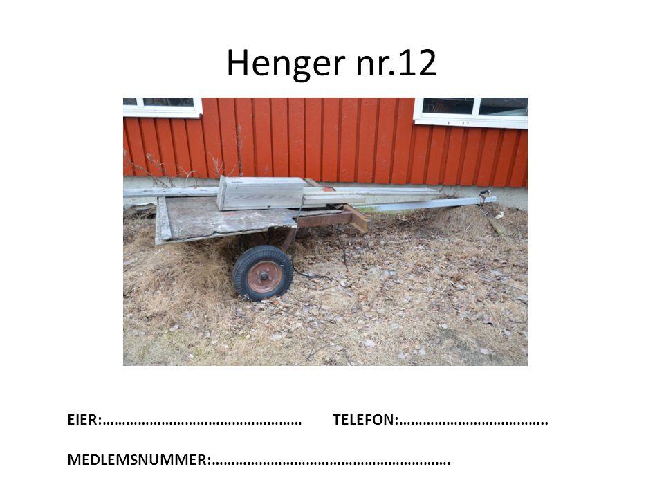 Henger nr.12 EIER:……………………………………………TELEFON:……………………………….. MEDLEMSNUMMER:…………………………………………………….