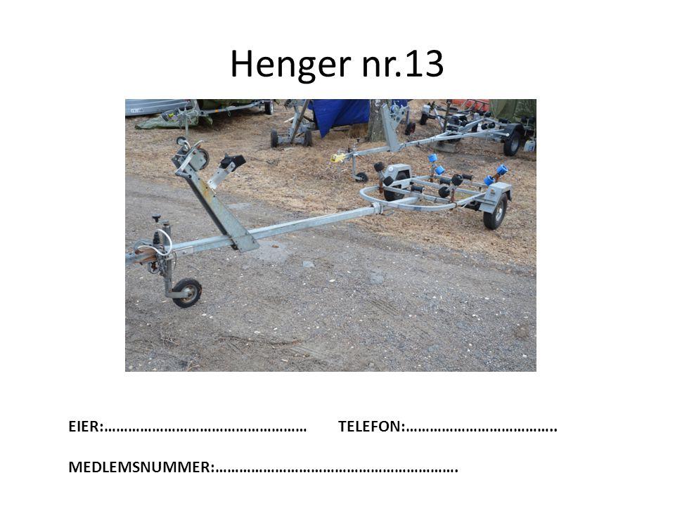 Henger nr.13 EIER:……………………………………………TELEFON:……………………………….. MEDLEMSNUMMER:…………………………………………………….