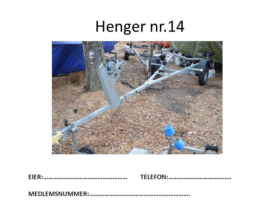 Henger nr.14 EIER:……………………………………………TELEFON:……………………………….. MEDLEMSNUMMER:…………………………………………………….