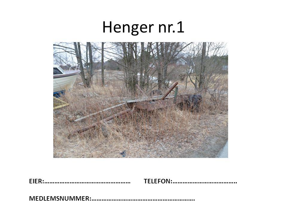 Henger nr.1 EIER:……………………………………………TELEFON:……………………………….. MEDLEMSNUMMER:…………………………………………………….