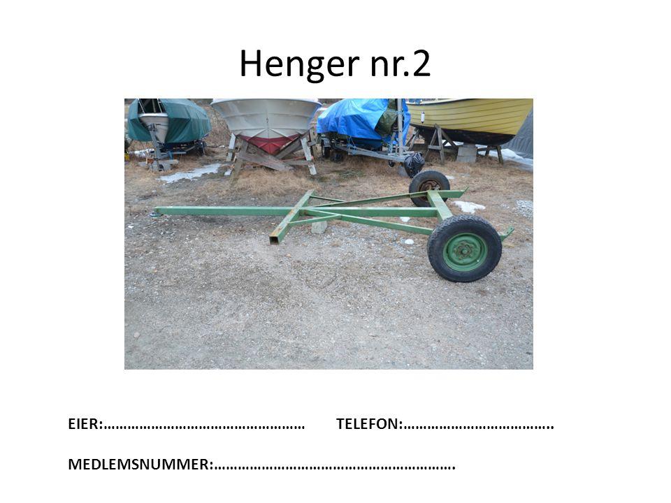 Henger nr.2 EIER:……………………………………………TELEFON:……………………………….. MEDLEMSNUMMER:…………………………………………………….