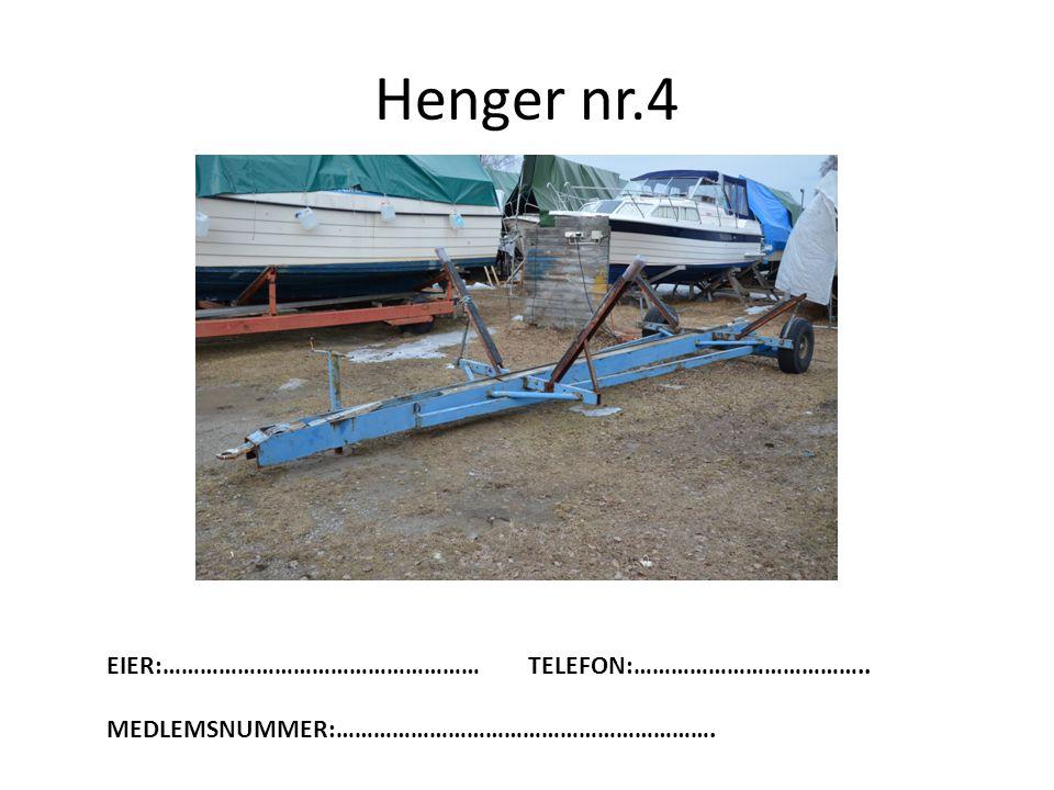 Henger nr.4 EIER:……………………………………………TELEFON:……………………………….. MEDLEMSNUMMER:…………………………………………………….