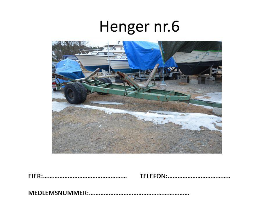 Henger nr.6 EIER:……………………………………………TELEFON:……………………………….. MEDLEMSNUMMER:…………………………………………………….