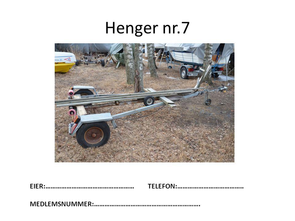 Henger nr.7 EIER:……………………………………………TELEFON:……………………………….. MEDLEMSNUMMER:…………………………………………………….