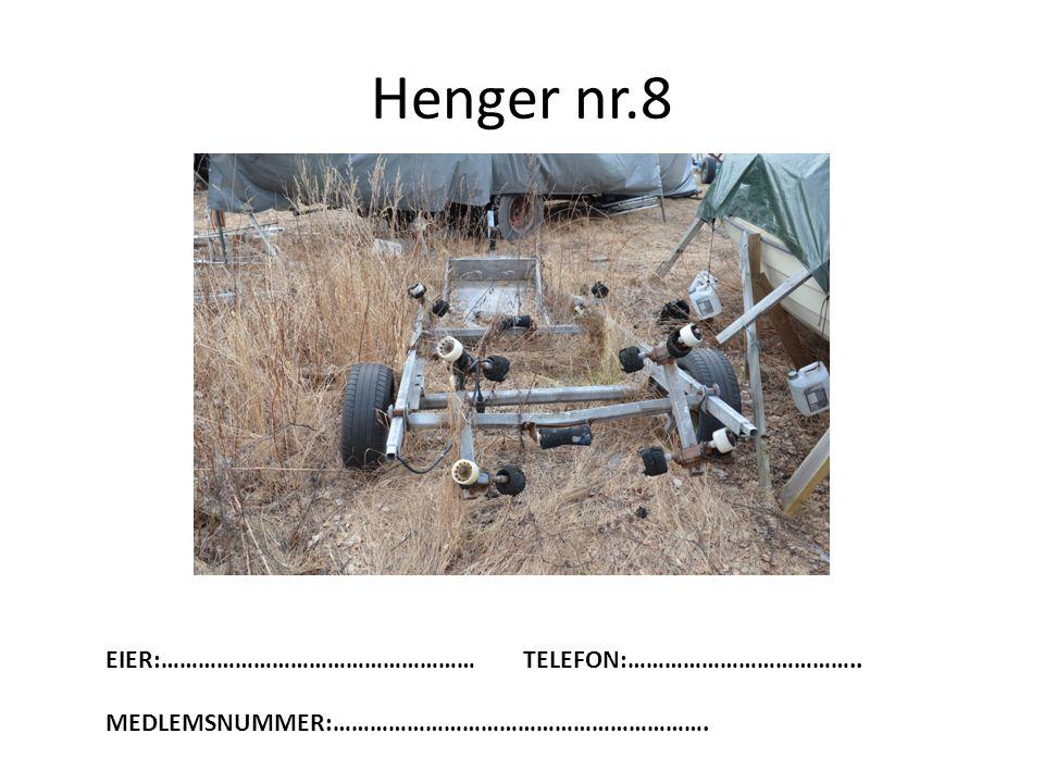 Henger nr.8 EIER:……………………………………………TELEFON:……………………………….. MEDLEMSNUMMER:…………………………………………………….