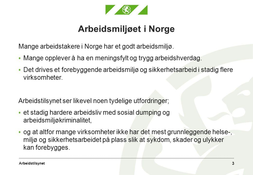 Arbeidstilsynet Arbeidsmiljøet i Norge Mange arbeidstakere i Norge har et godt arbeidsmiljø. Mange opplever å ha en meningsfylt og trygg arbeidshverda