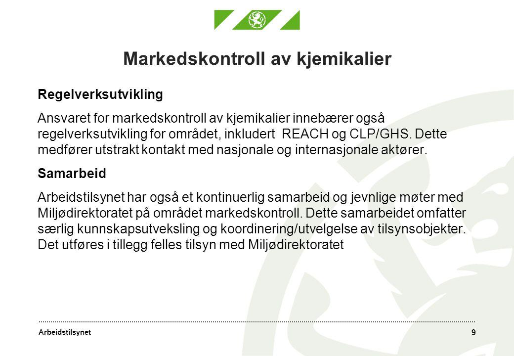 Arbeidstilsynet Markedskontroll av kjemikalier Regelverksutvikling Ansvaret for markedskontroll av kjemikalier innebærer også regelverksutvikling for