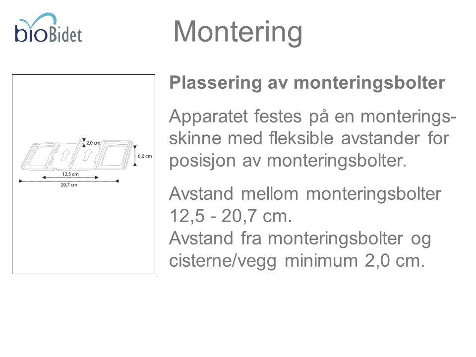 Plassering av monteringsbolter Apparatet festes på en monterings- skinne med fleksible avstander for posisjon av monteringsbolter. Avstand mellom mont