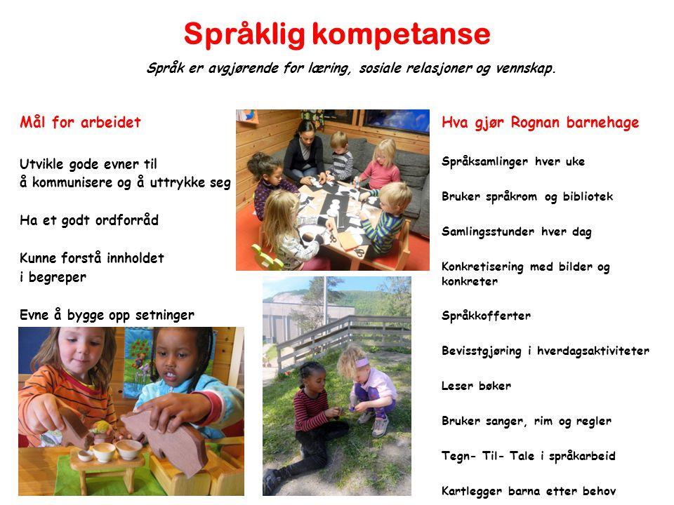 Språklig kompetanse Mål for arbeidet Utvikle gode evner til å kommunisere og å uttrykke seg Ha et godt ordforråd Kunne forstå innholdet i begreper Evn
