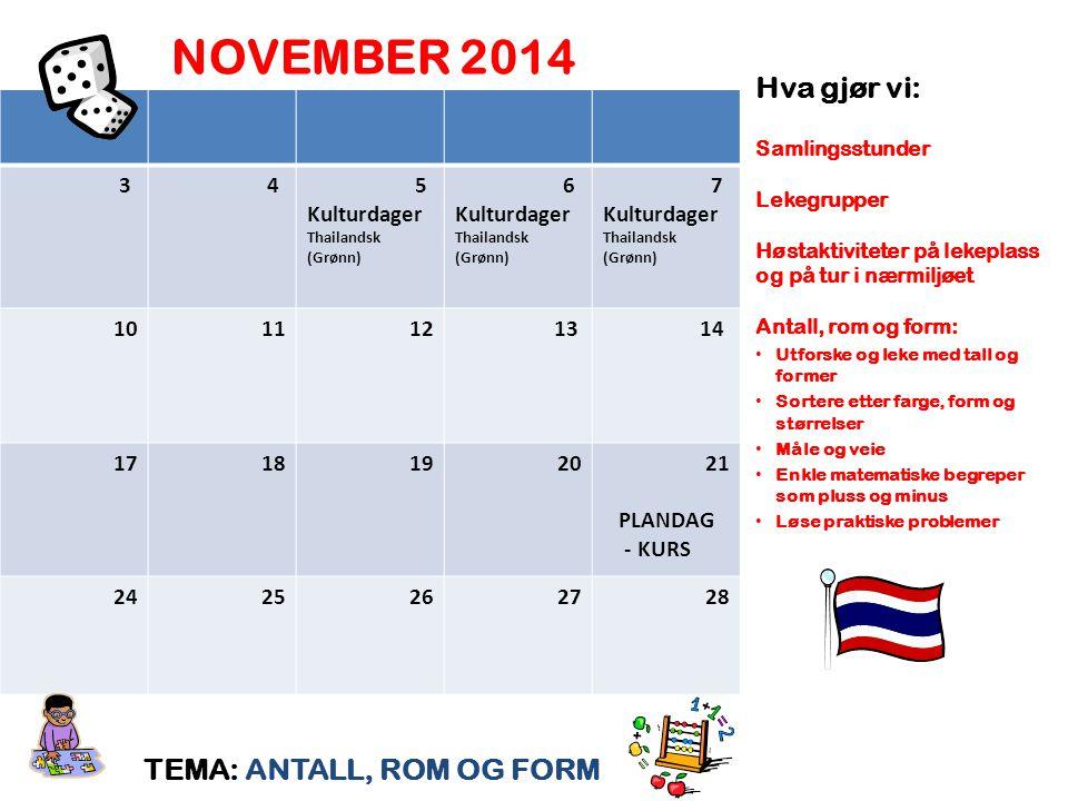NOVEMBER 2014 TEMA: ANTALL, ROM OG FORM Hva gjør vi: Samlingsstunder Lekegrupper Høstaktiviteter på lekeplass og på tur i nærmiljøet Antall, rom og fo
