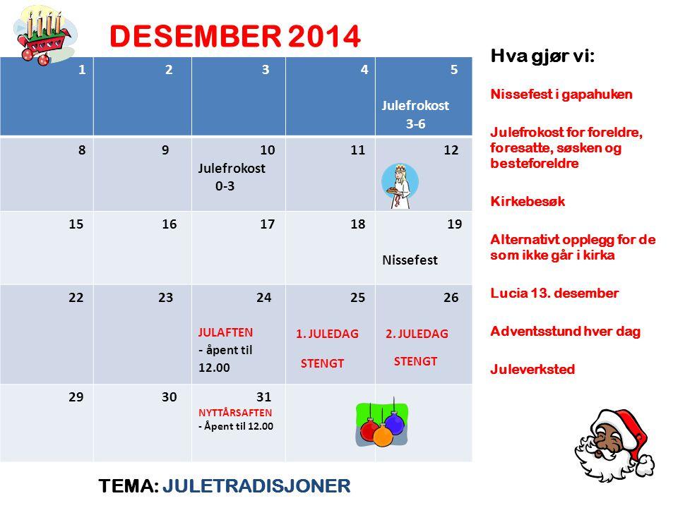 DESEMBER 2014 TEMA: JULETRADISJONER Hva gjør vi: Nissefest i gapahuken Julefrokost for foreldre, foresatte, søsken og besteforeldre Kirkebesøk Alternativt opplegg for de som ikke går i kirka Lucia 13.