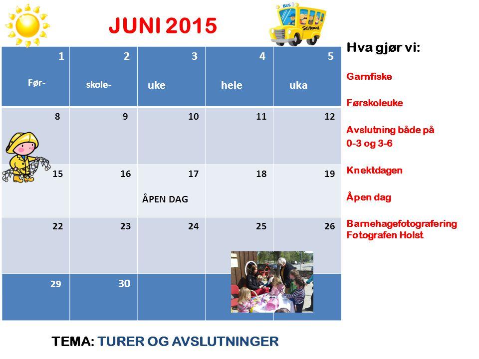 JUNI 2015 TEMA: TURER OG AVSLUTNINGER Hva gjør vi: Garnfiske Førskoleuke Avslutning både på 0-3 og 3-6 Knektdagen Åpen dag Barnehagefotografering Foto