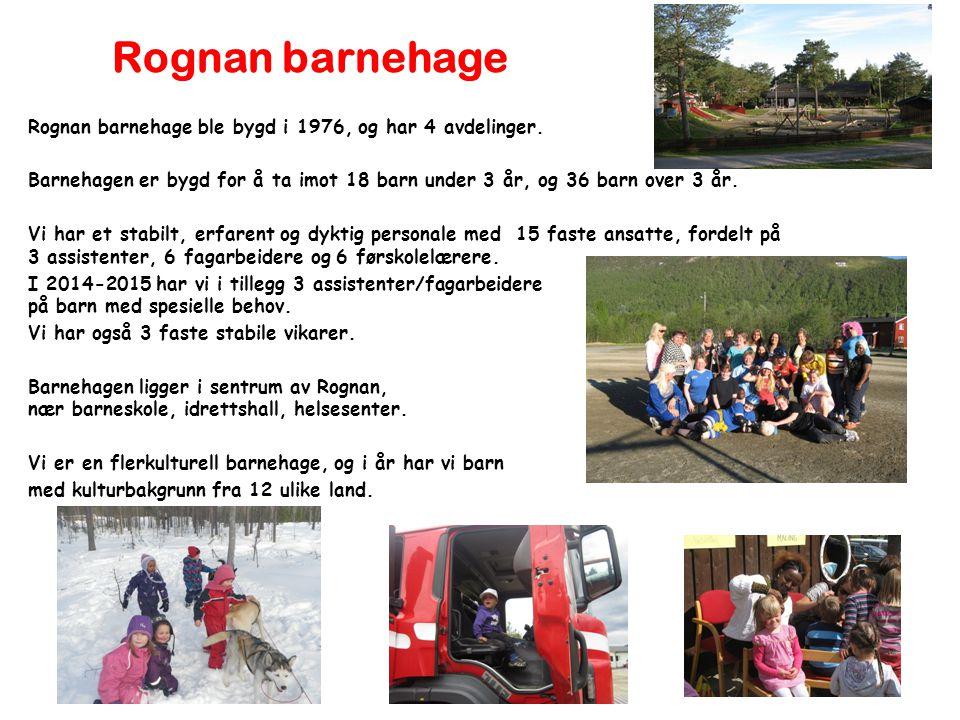 Rognan barnehage Rognan barnehage ble bygd i 1976, og har 4 avdelinger.