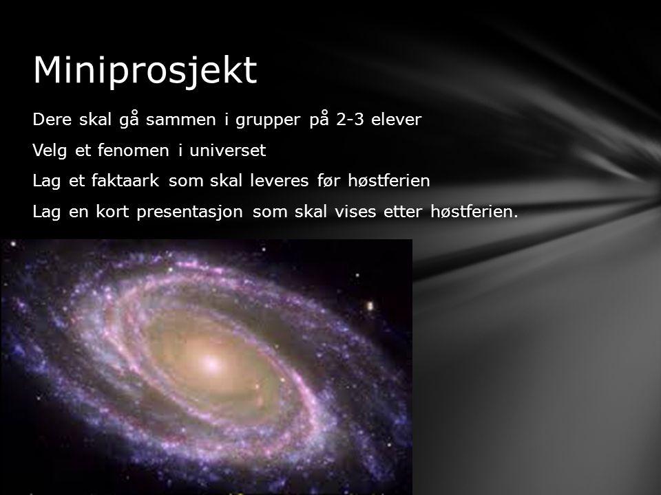 Dere skal gå sammen i grupper på 2-3 elever Velg et fenomen i universet Lag et faktaark som skal leveres før høstferien Lag en kort presentasjon som s