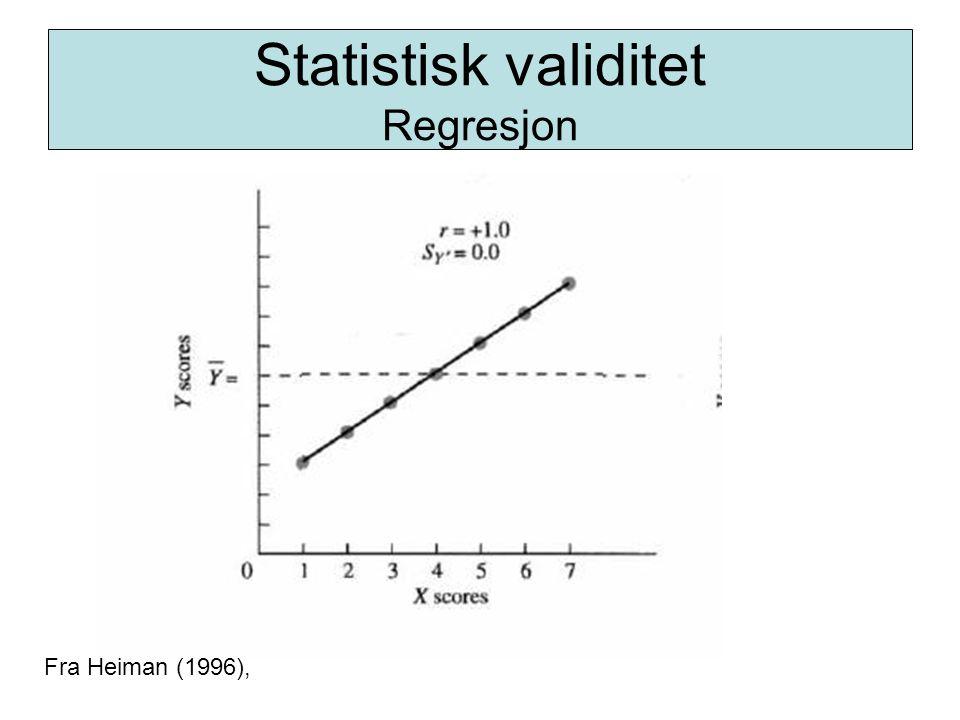 Statistisk validitet Regresjon Fra Heiman (1996),