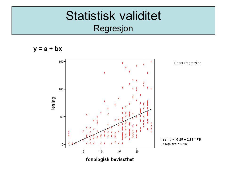 Statistisk validitet Regresjon y = a + bx