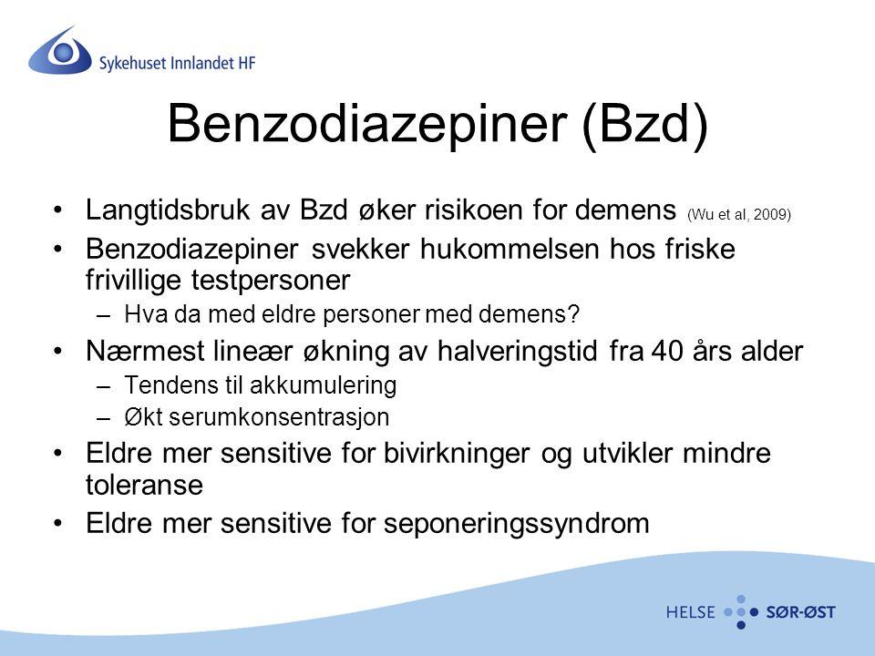Benzodiazepiner (Bzd) Langtidsbruk av Bzd øker risikoen for demens (Wu et al, 2009) Benzodiazepiner svekker hukommelsen hos friske frivillige testpers