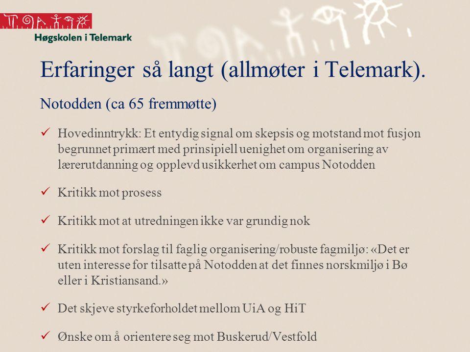 Erfaringer så langt (allmøter i Telemark).