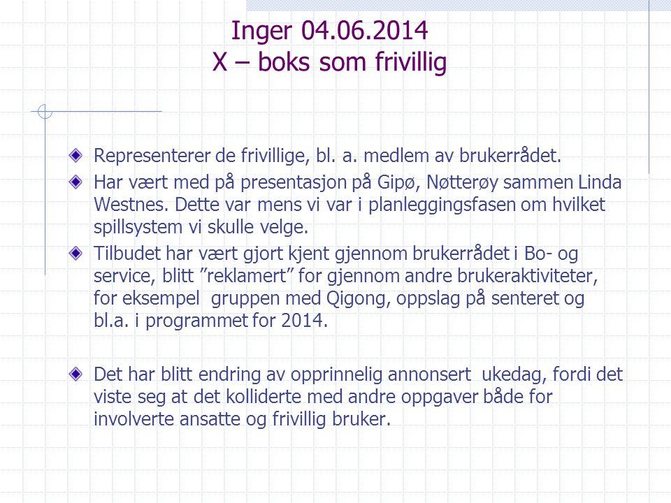 Inger 04.06.2014 X – boks som frivillig Representerer de frivillige, bl.