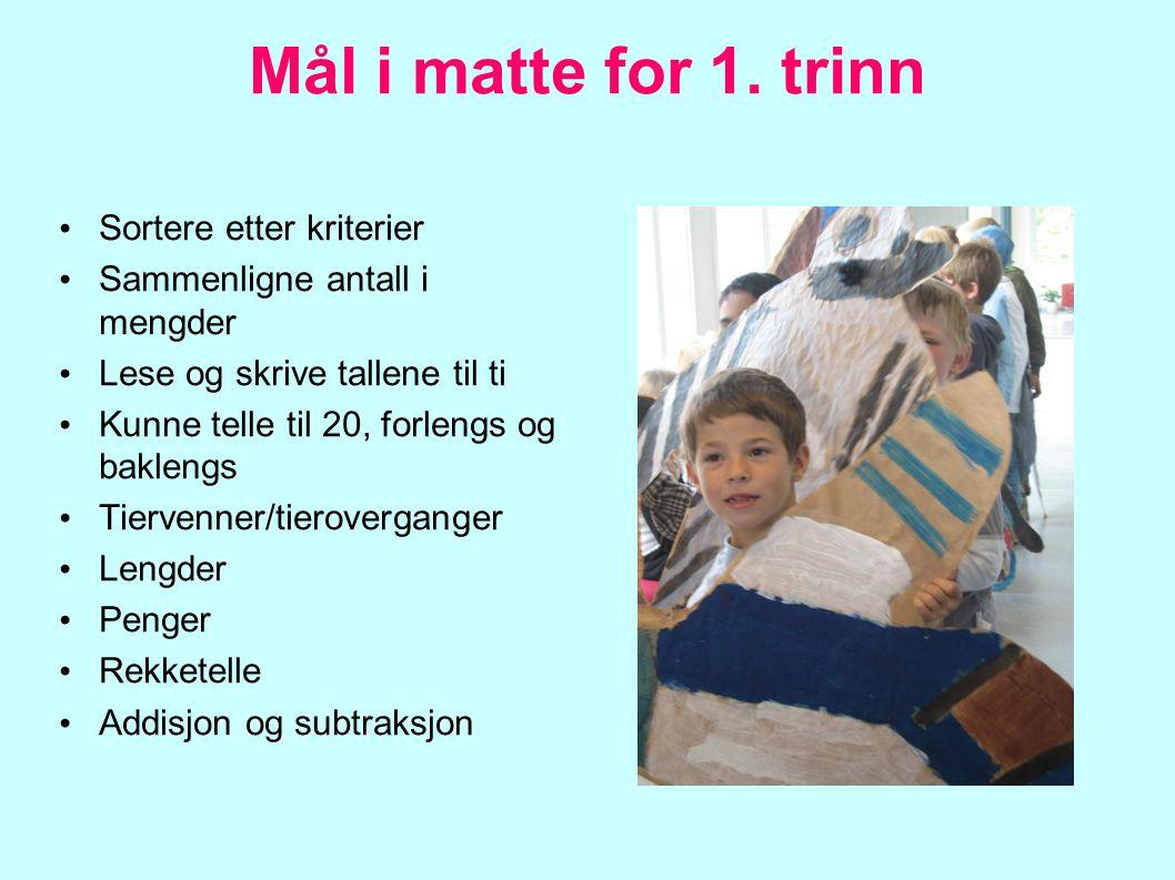 Mål i matte for 1. trinn Sortere etter kriterier Sammenligne antall i mengder Lese og skrive tallene til ti Kunne telle til 20, forlengs og baklengs T