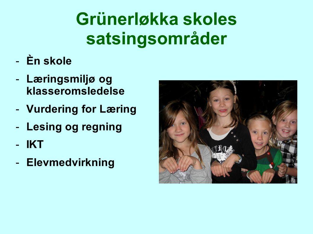 Grünerløkka skoles satsingsområder -Èn skole -Læringsmiljø og klasseromsledelse -Vurdering for Læring -Lesing og regning -IKT -Elevmedvirkning