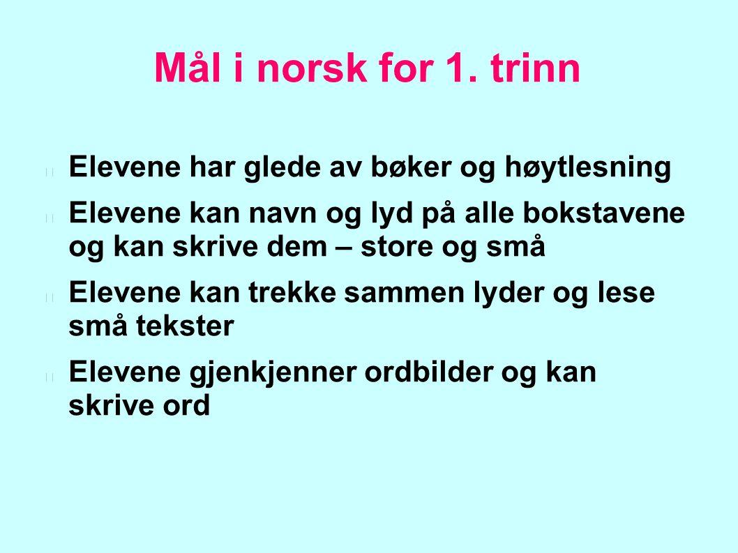 Mål i norsk for 1. trinn Elevene har glede av bøker og høytlesning Elevene kan navn og lyd på alle bokstavene og kan skrive dem – store og små Elevene