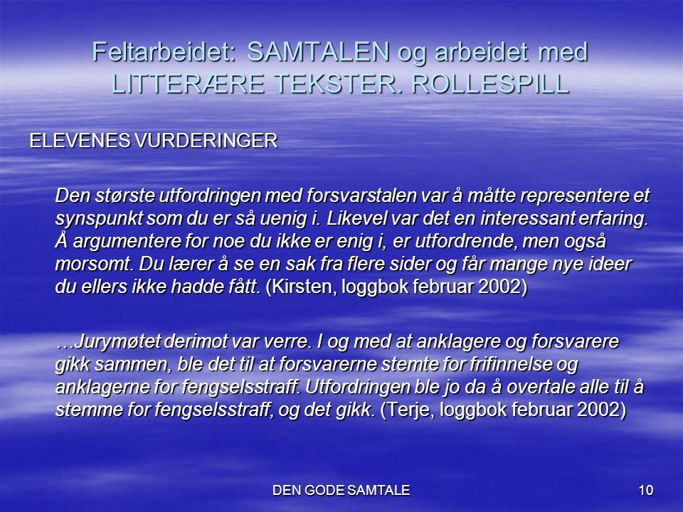 DEN GODE SAMTALE10 Feltarbeidet: SAMTALEN og arbeidet med LITTERÆRE TEKSTER. ROLLESPILL ELEVENES VURDERINGER Den største utfordringen med forsvarstale