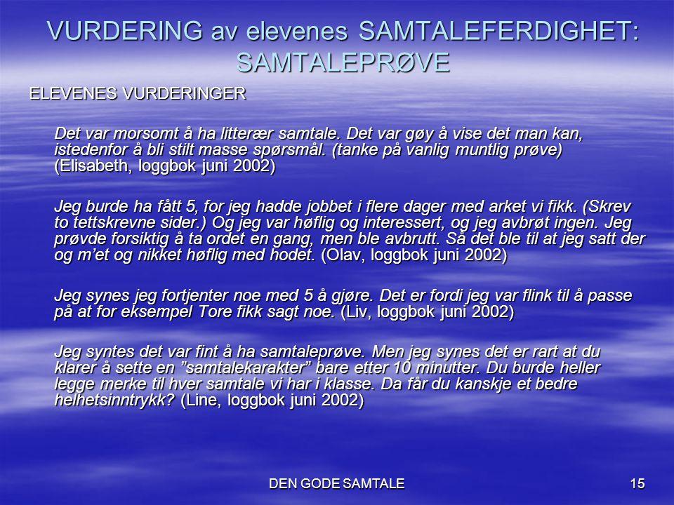 DEN GODE SAMTALE15 VURDERING av elevenes SAMTALEFERDIGHET: SAMTALEPRØVE ELEVENES VURDERINGER Det var morsomt å ha litterær samtale. Det var gøy å vise