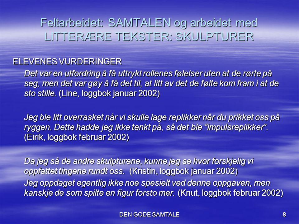 DEN GODE SAMTALE8 Feltarbeidet: SAMTALEN og arbeidet med LITTERÆRE TEKSTER: SKULPTURER ELEVENES VURDERINGER Det var en utfordring å få uttrykt rollene