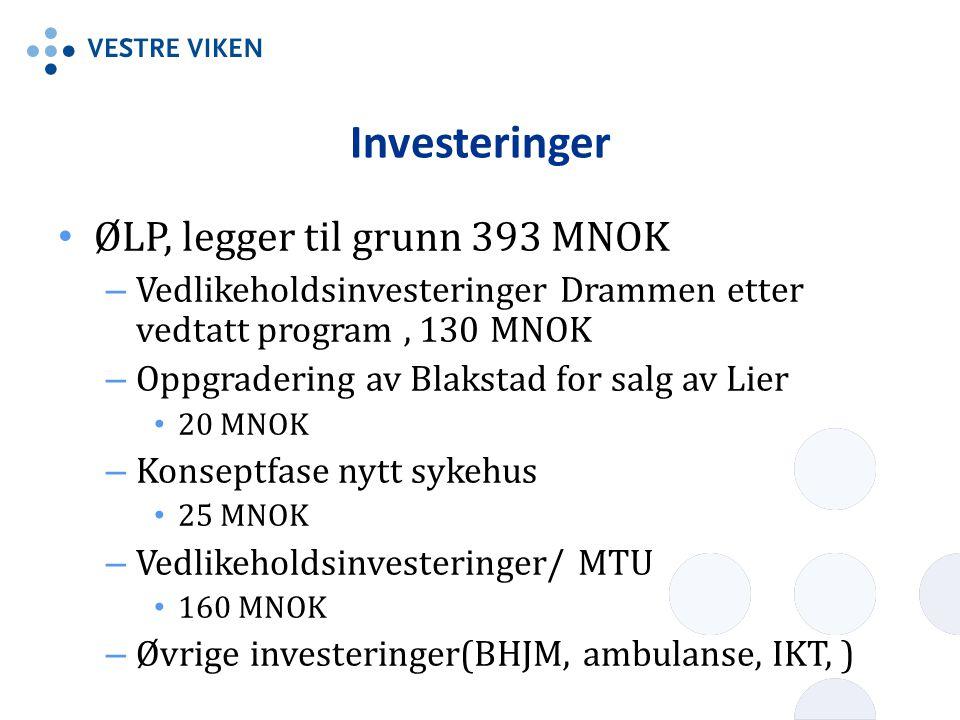 Investeringer ØLP, legger til grunn 393 MNOK – Vedlikeholdsinvesteringer Drammen etter vedtatt program, 130 MNOK – Oppgradering av Blakstad for salg av Lier 20 MNOK – Konseptfase nytt sykehus 25 MNOK – Vedlikeholdsinvesteringer/ MTU 160 MNOK – Øvrige investeringer(BHJM, ambulanse, IKT, )