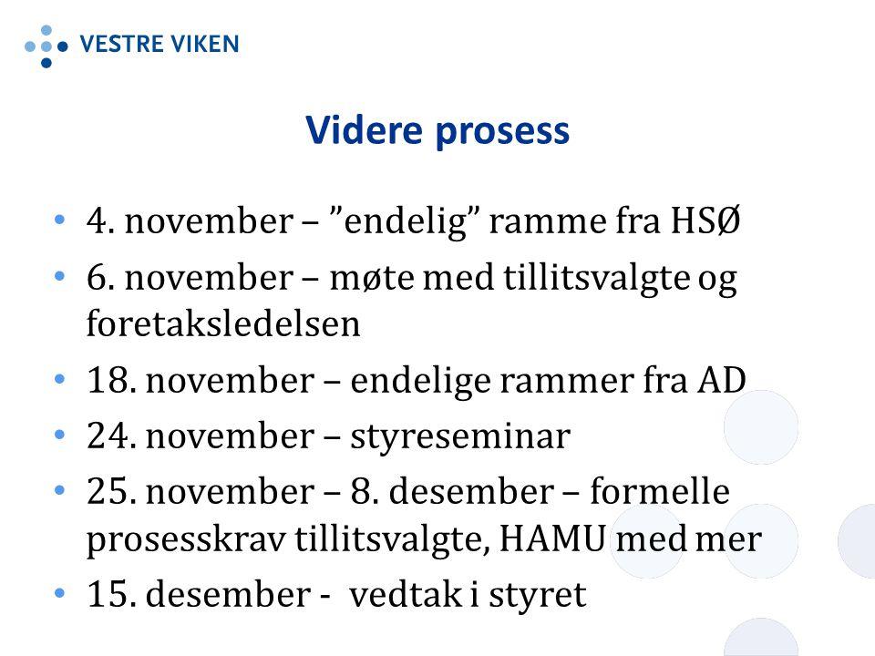 Videre prosess 4.november – endelig ramme fra HSØ 6.