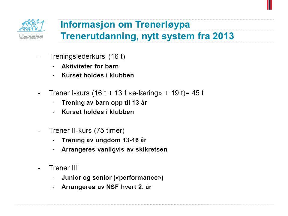 Informasjon om Trenerløypa Trenerutdanning, nytt system fra 2013 -Treningslederkurs (16 t) -Aktiviteter for barn -Kurset holdes i klubben -Trener I-ku