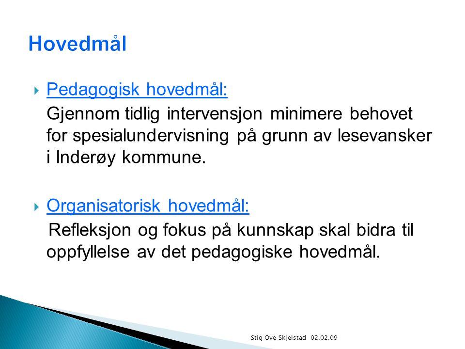  Pedagogisk hovedmål: Gjennom tidlig intervensjon minimere behovet for spesialundervisning på grunn av lesevansker i Inderøy kommune.  Organisatoris