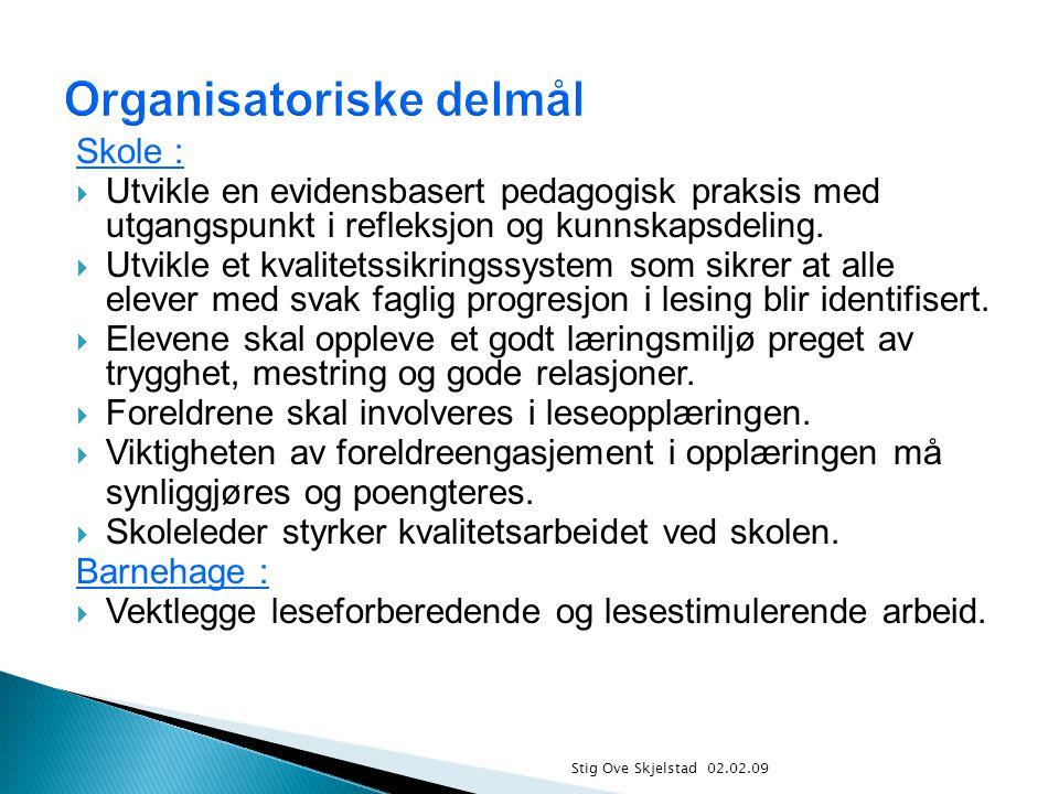 Stig Ove Skjelstad 02.02.09 Skole :  Utvikle en evidensbasert pedagogisk praksis med utgangspunkt i refleksjon og kunnskapsdeling.  Utvikle et kvali