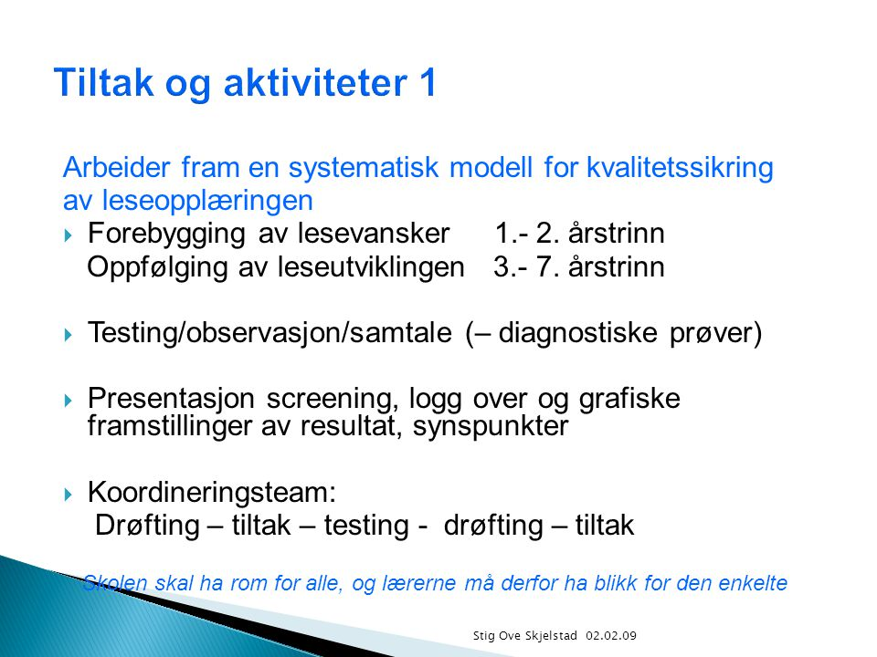 Stig Ove Skjelstad 02.02.09 Arbeider fram en systematisk modell for kvalitetssikring av leseopplæringen  Forebygging av lesevansker 1.- 2.