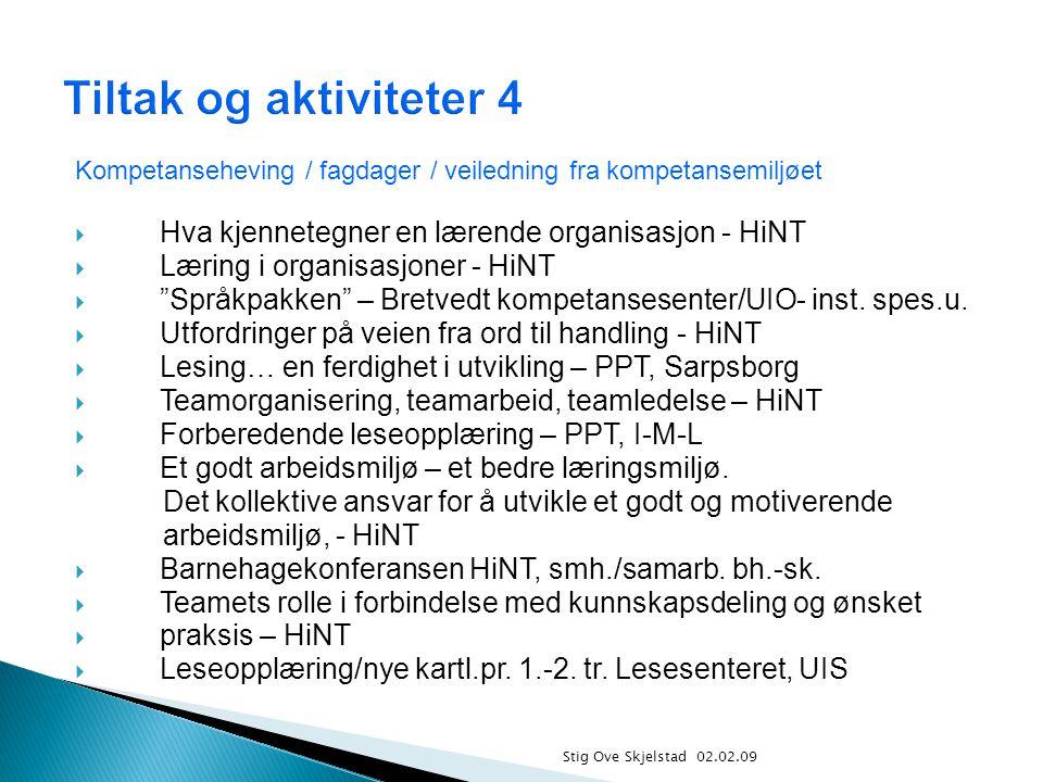 Stig Ove Skjelstad 02.02.09 Kompetanseheving / fagdager / veiledning fra kompetansemiljøet  Hva kjennetegner en lærende organisasjon - HiNT  Læring i organisasjoner - HiNT  Språkpakken – Bretvedt kompetansesenter/UIO- inst.