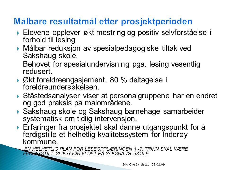 Stig Ove Skjelstad 02.02.09  Elevene opplever økt mestring og positiv selvforståelse i forhold til lesing  Målbar reduksjon av spesialpedagogiske ti