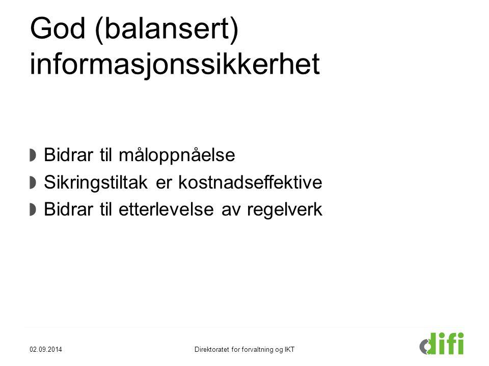 God (balansert) informasjonssikkerhet Bidrar til måloppnåelse Sikringstiltak er kostnadseffektive Bidrar til etterlevelse av regelverk 02.09.2014Direk