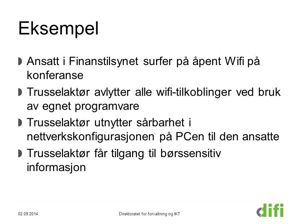 Eksempel Ansatt i Finanstilsynet surfer på åpent Wifi på konferanse Trusselaktør avlytter alle wifi-tilkoblinger ved bruk av egnet programvare Trussel