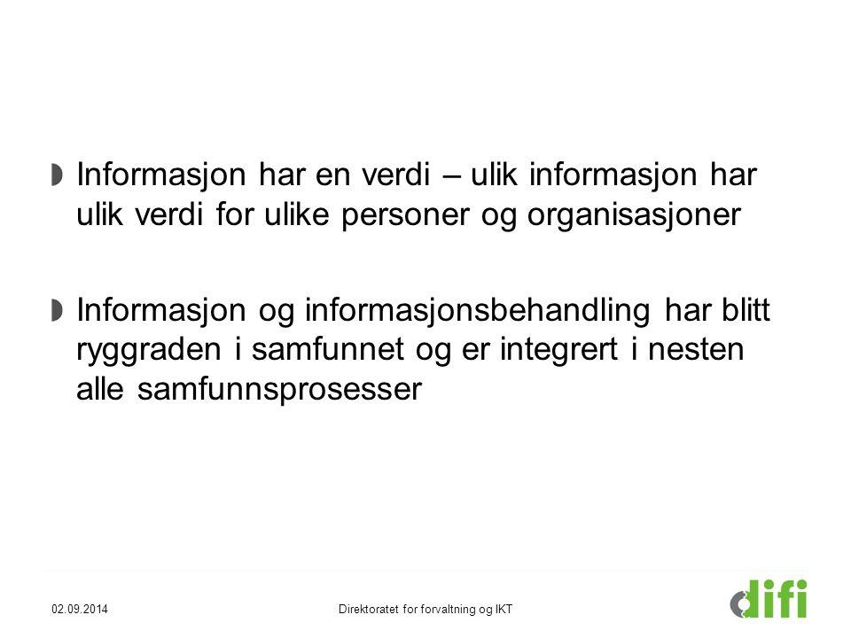 Informasjon har en verdi – ulik informasjon har ulik verdi for ulike personer og organisasjoner Informasjon og informasjonsbehandling har blitt ryggraden i samfunnet og er integrert i nesten alle samfunnsprosesser 02.09.2014Direktoratet for forvaltning og IKT