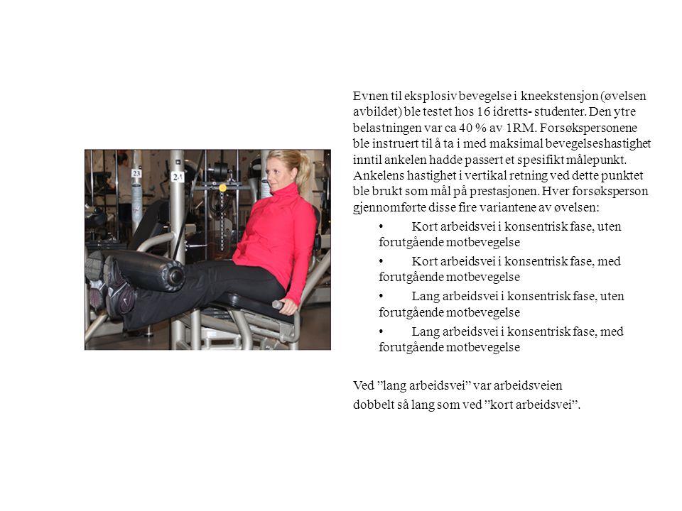 Evnen til eksplosiv bevegelse i kneekstensjon (øvelsen avbildet) ble testet hos 16 idretts- studenter. Den ytre belastningen var ca 40 % av 1RM. Forsø
